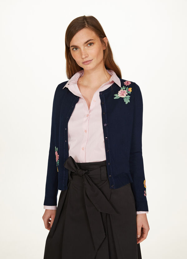 Viscose blend cardigan with embroidery