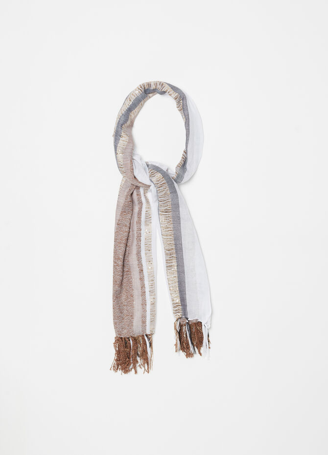 Exquisite stole with sequins, stripes and lurex