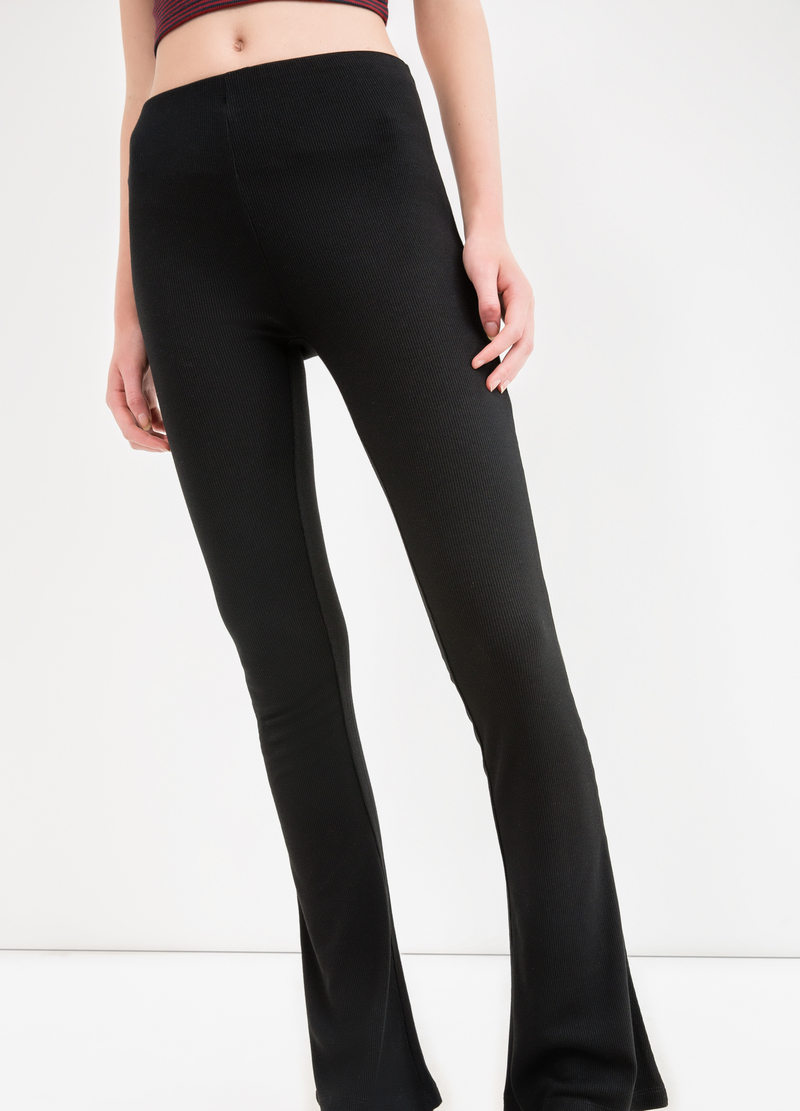 Solid colour stretch viscose leggings image number null