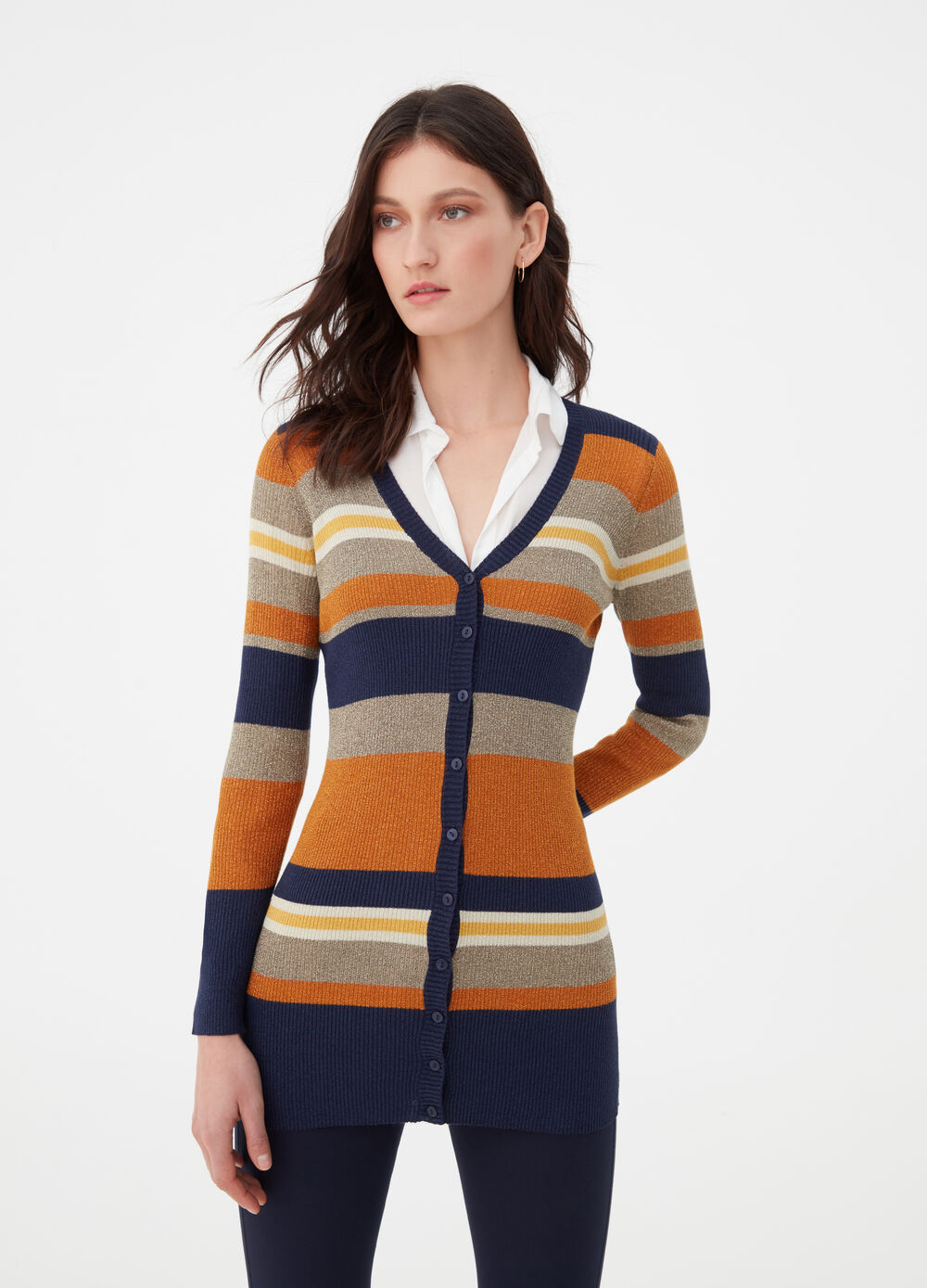 Long cardigan with knitted lurex and striped pattern