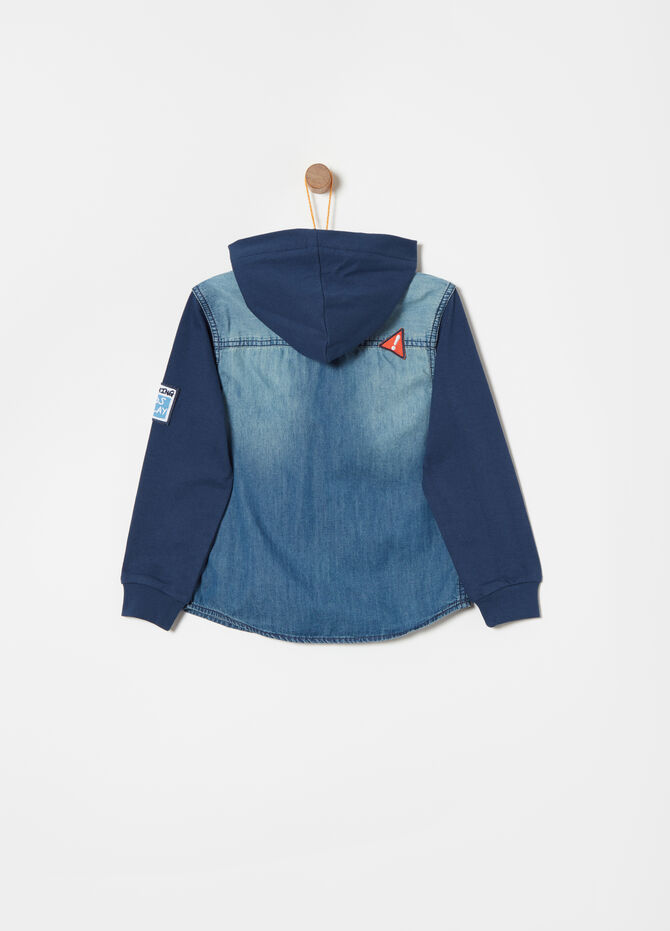 Denim shirt with fleece sleeves