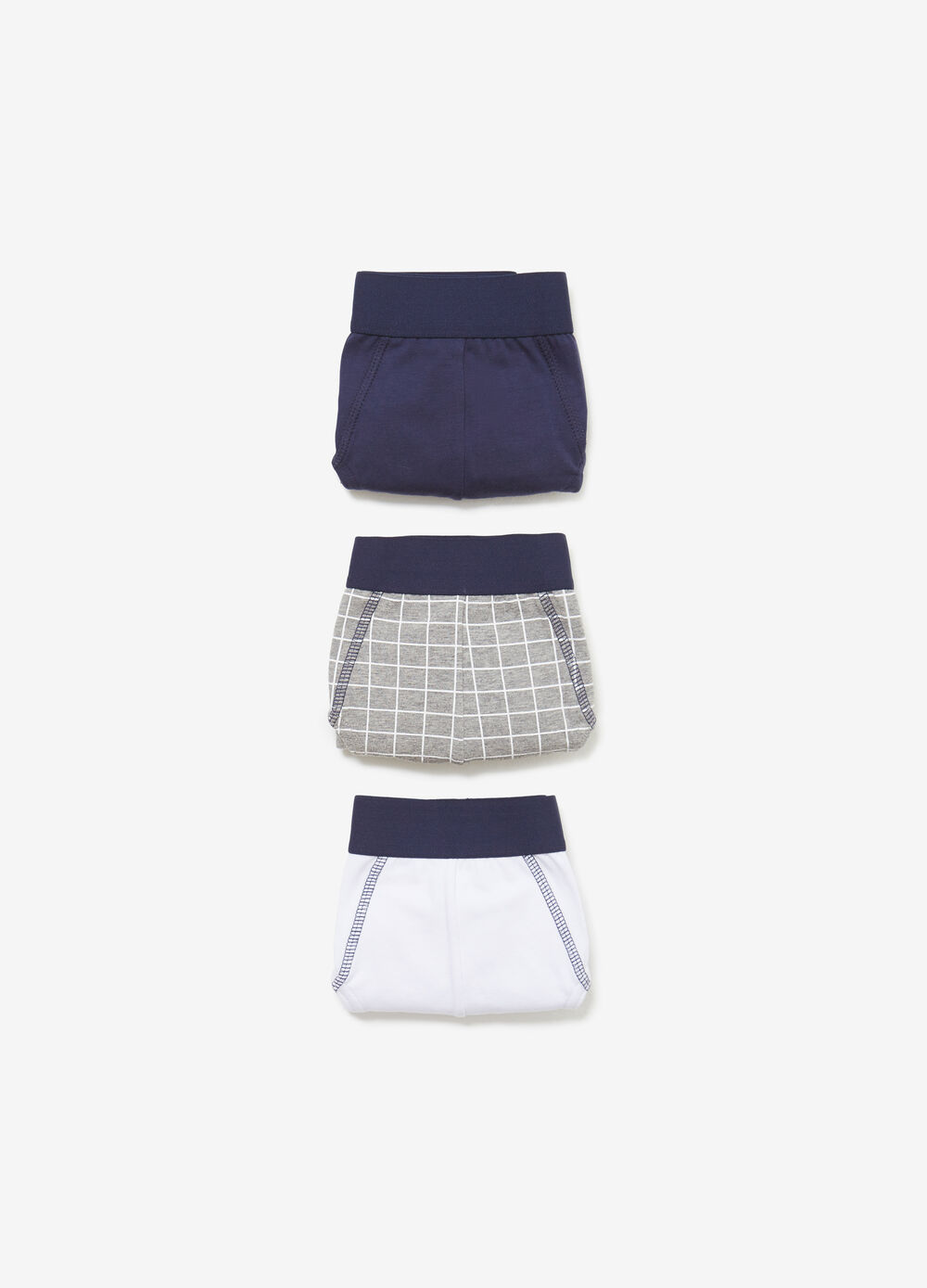 Three-pack cotton solid colour and check briefs