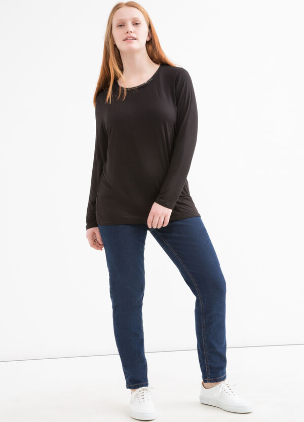 T-shirt con strass applicati Curvy | OVS
