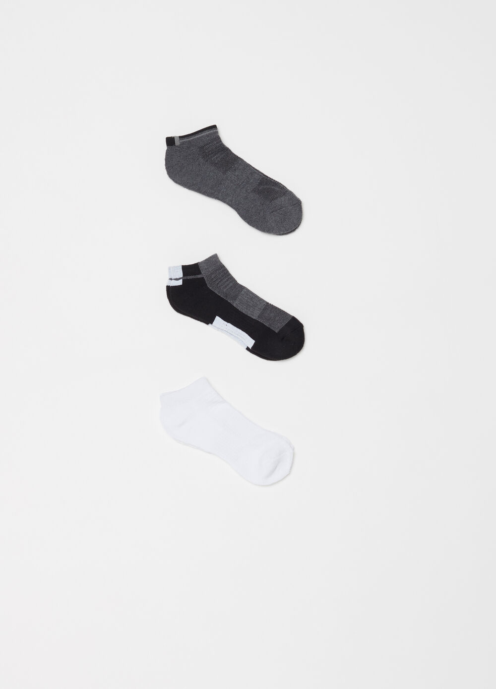 Three-pair pack half terry socks