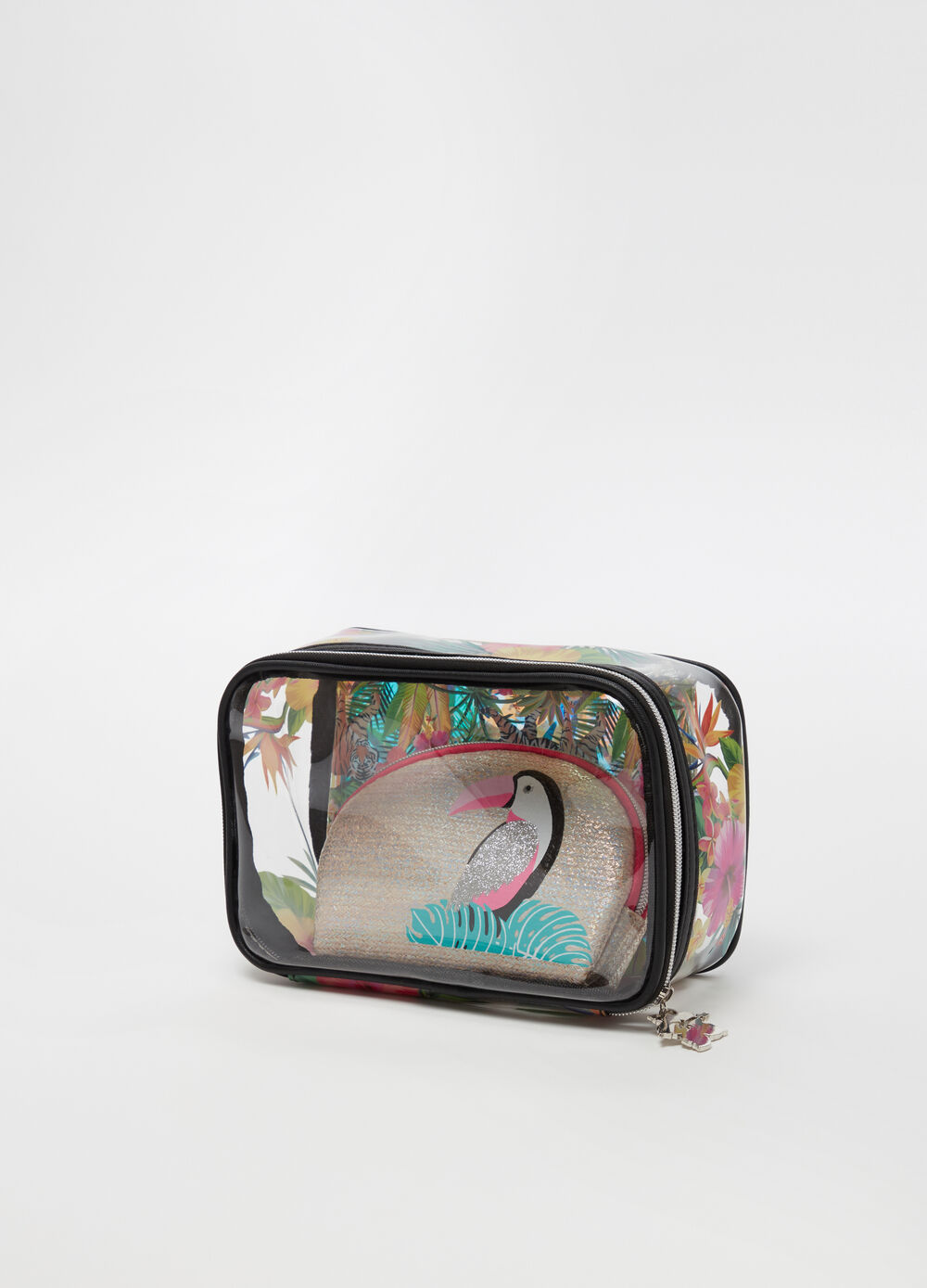 Three-pack beauty cases with pattern and print