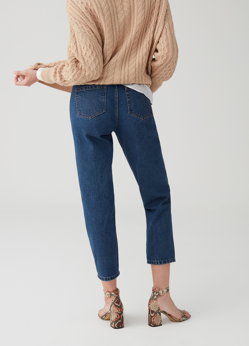 Jeans mom fit crop cinque tasche image number null