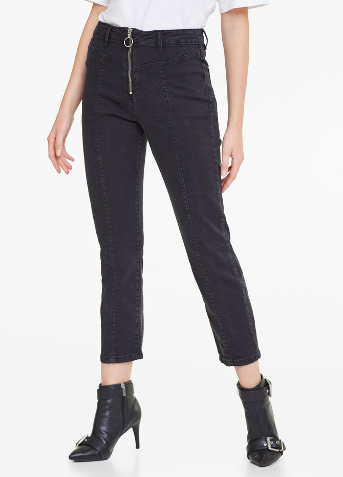 Jeans stretch tinta unita con zip