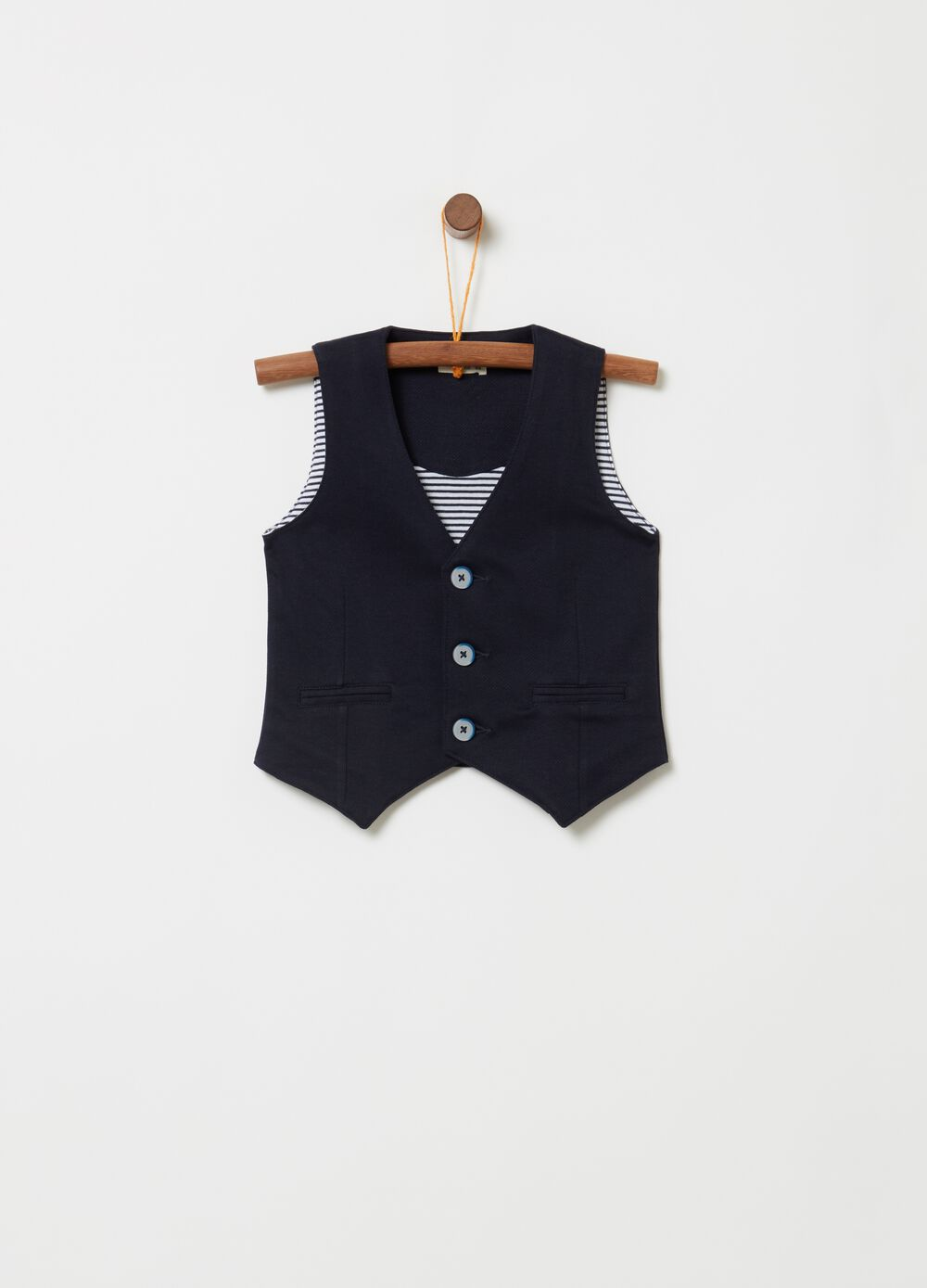 Elegant gilet in knitted fabric