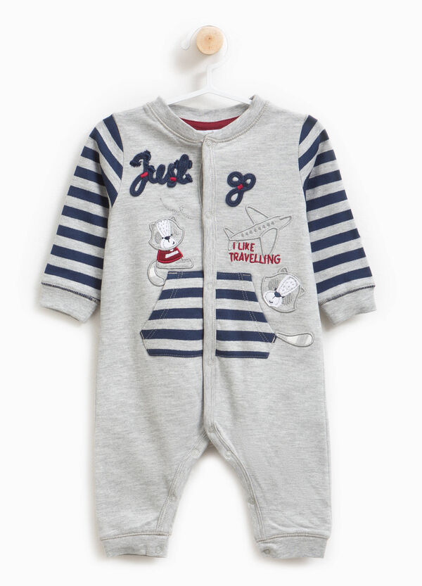 Sleepsuit in 100% cotton with stripes and patches | OVS