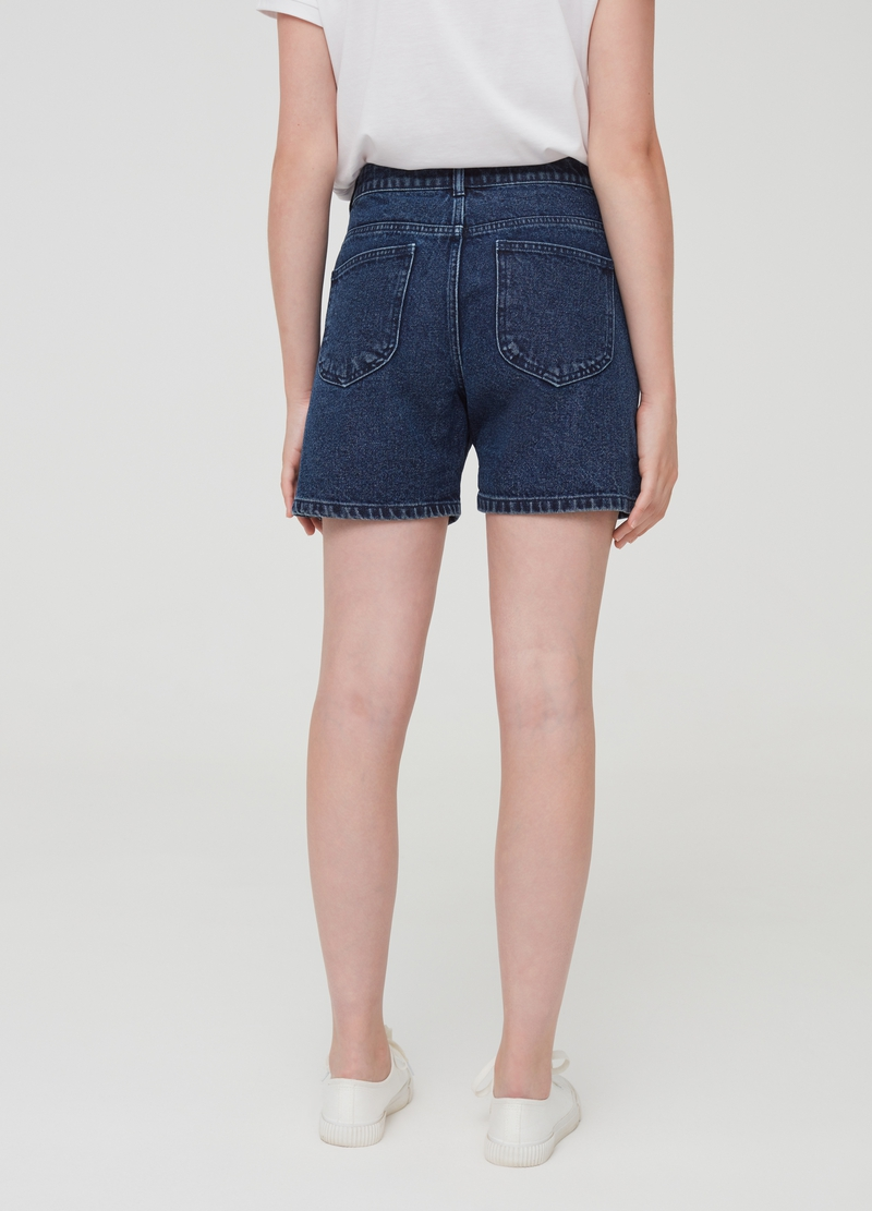 Mum-fit denim shorts with high waist image number null