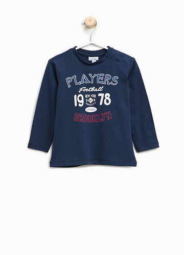 T-shirt con stampa lettering in cotone