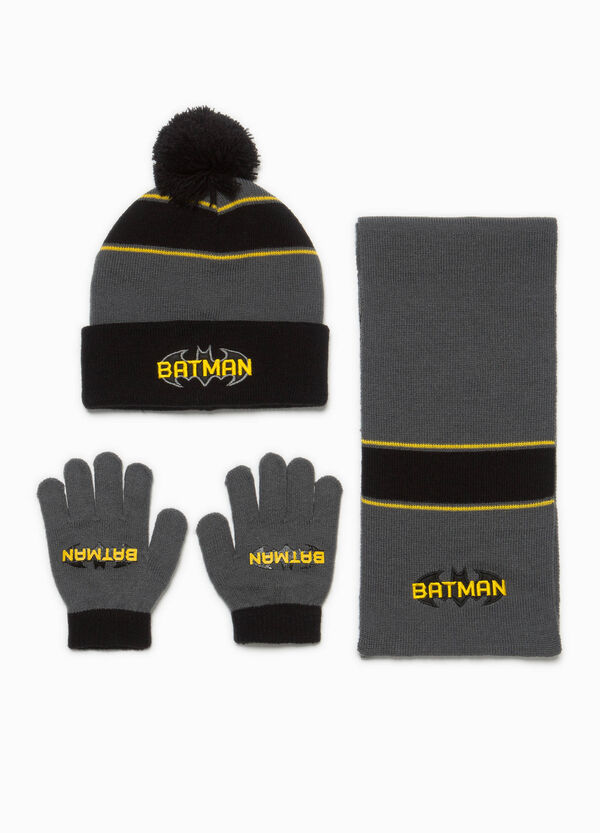Batman hat, scarf and gloves set