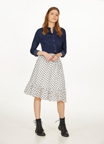 Polka dot viscose blend skirt