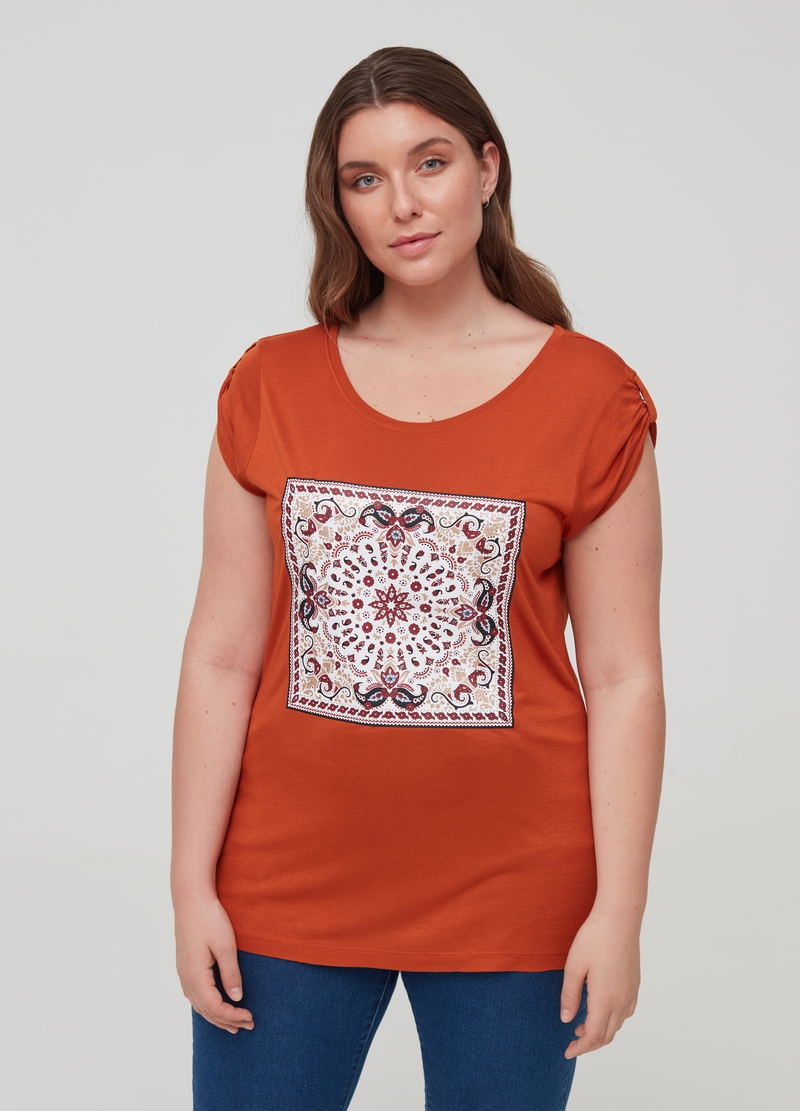 Curvy 100% viscose T-shirt with print image number null