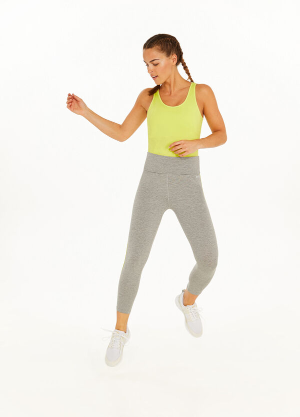 Stretch cotton leggings with band