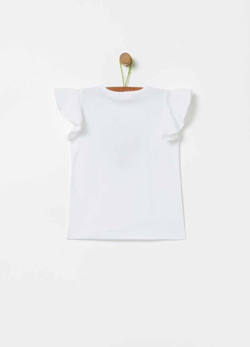 Stretch cotton T-shirt with tulle and diamantés image number null