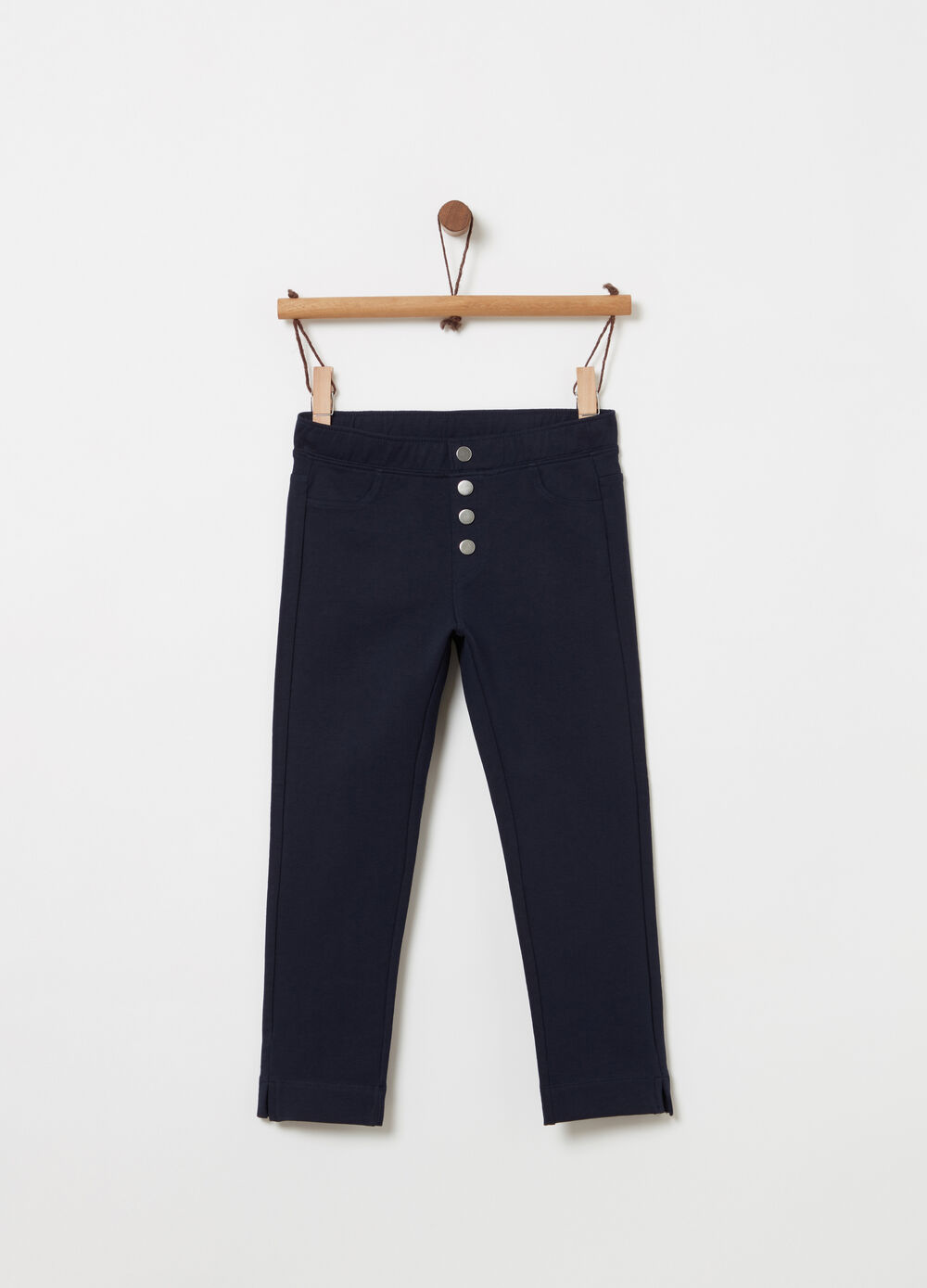 Jeggings with false buttons and pockets