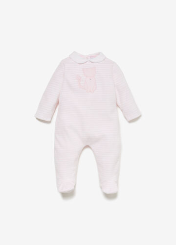 Striped romper suit with kitten patch