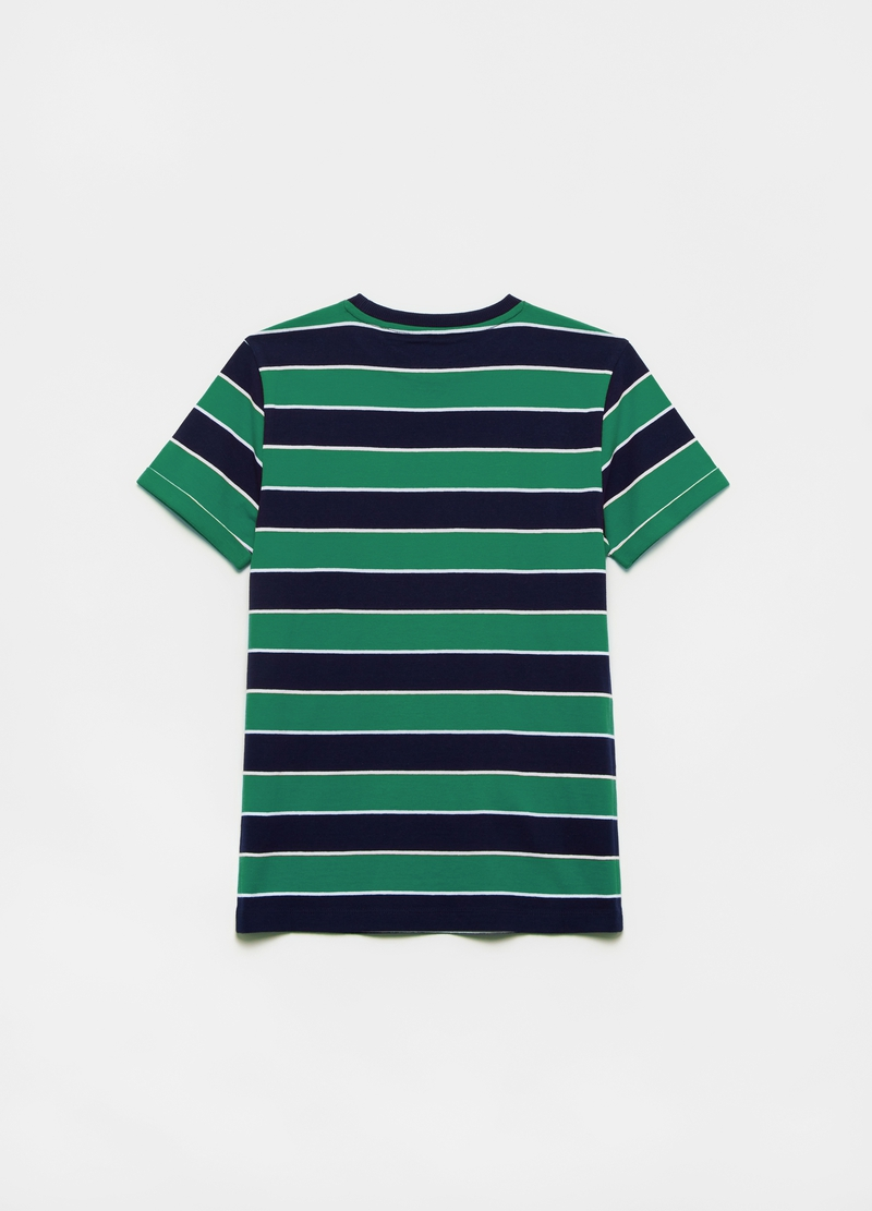 T-shirt in cotone a righe con logo image number null