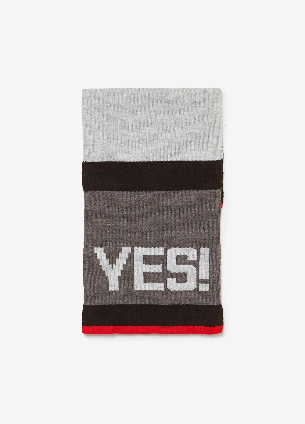 Striped patterned scarf with lettering print