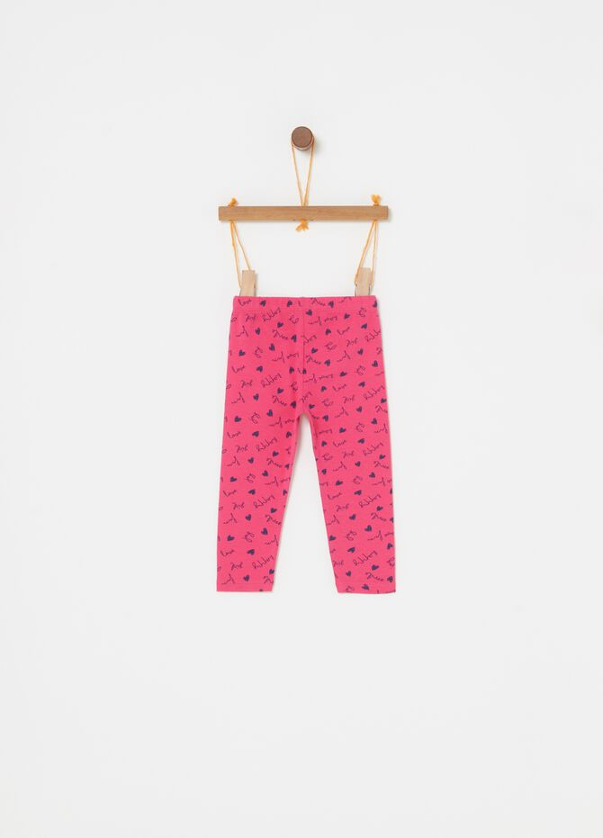 Leggings biocotton stretch e cuoricini
