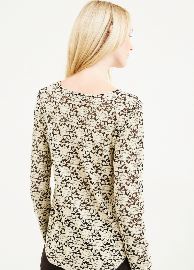 Lace T-shirt with long sleeves image number null