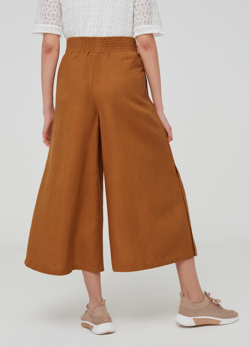 Flared-fit trousers in linen and viscose image number null