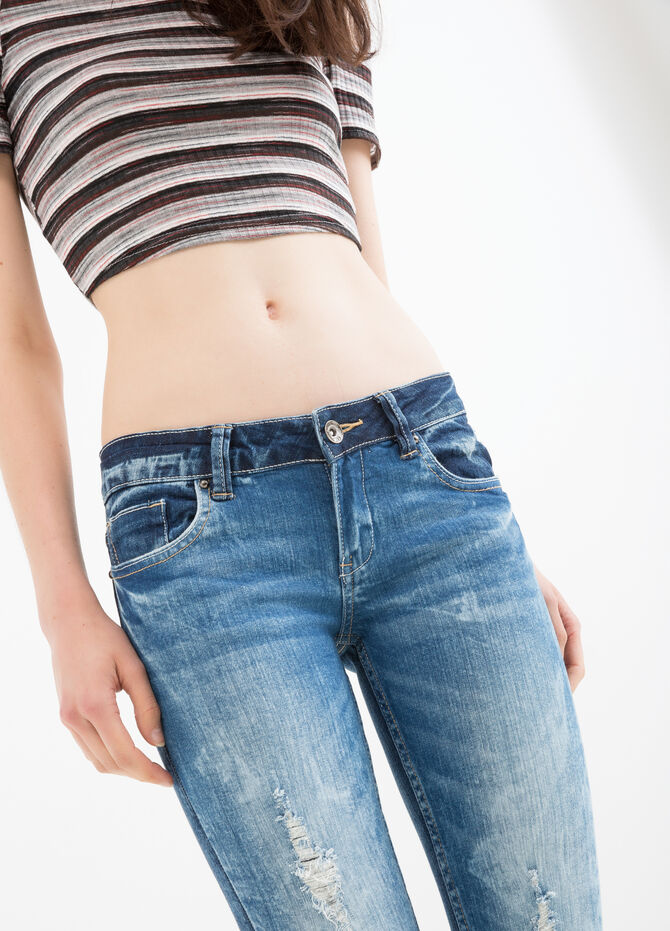Ripped, slim-fit stretch jeans