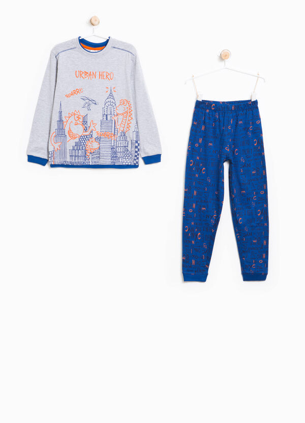 Cotton pyjamas with lettering pattern | OVS