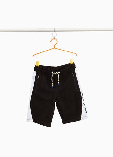 Cotton Bermuda shorts with lettering print