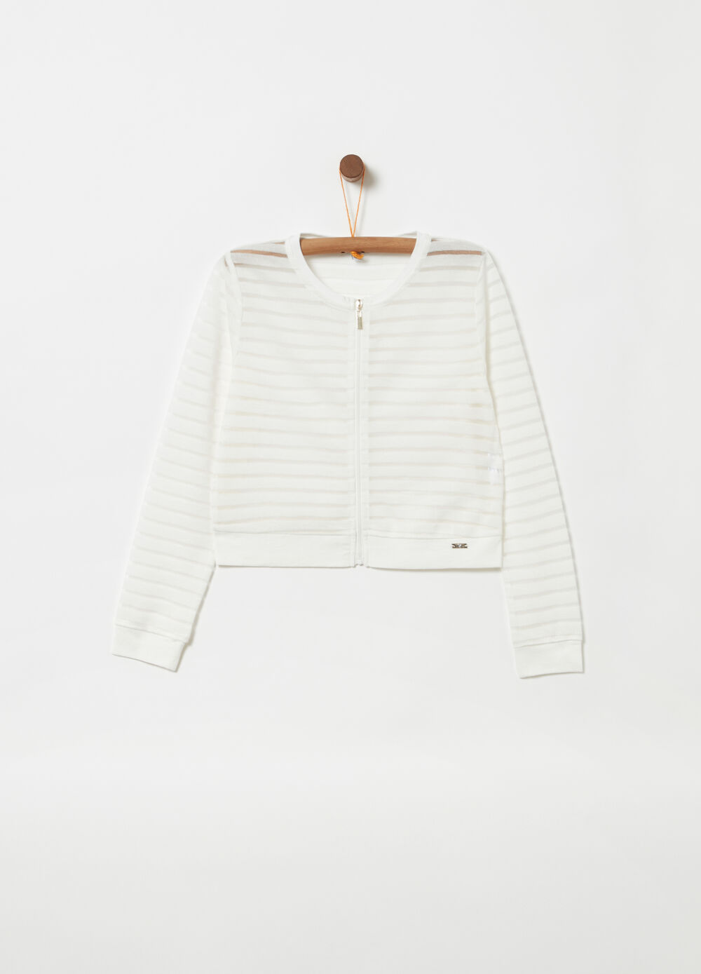 Cardigan with striped full-zip fastening