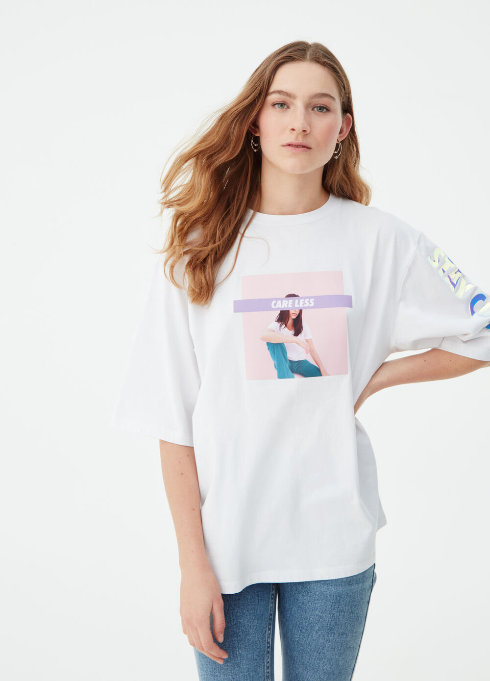 Satin-effect super oversized BCI T-shirt with print
