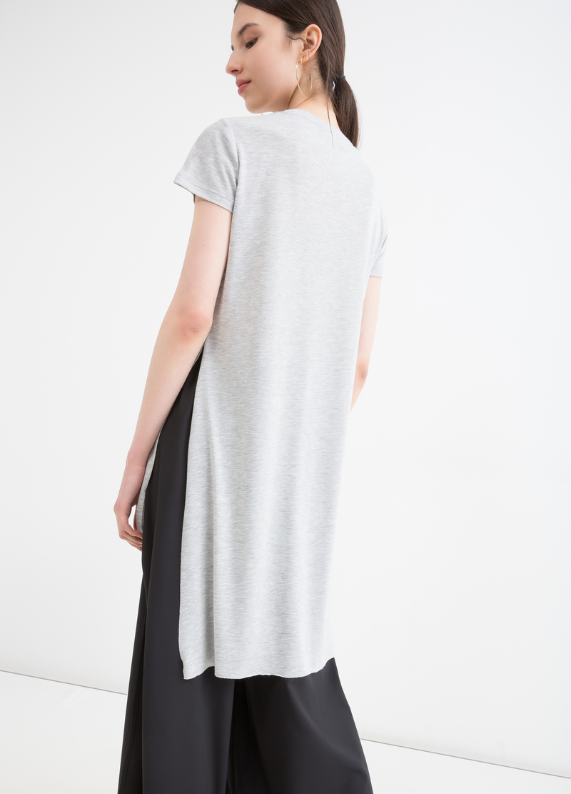 Viscose long T-shirt with splits image number null
