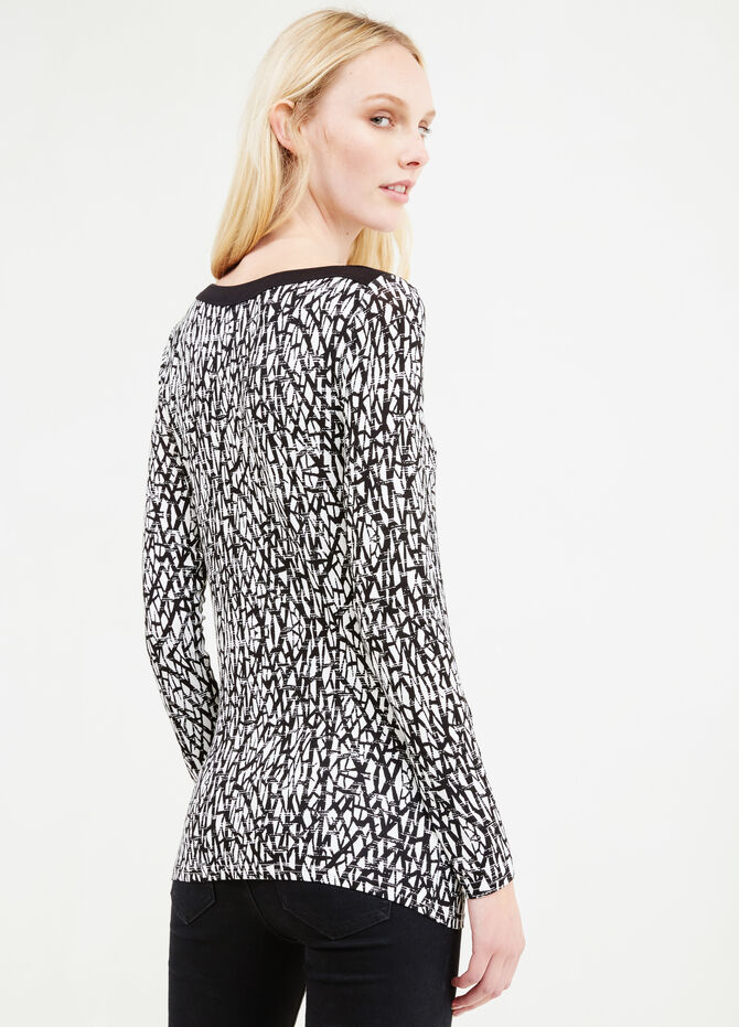 Patterned T-shirt in stretch viscose