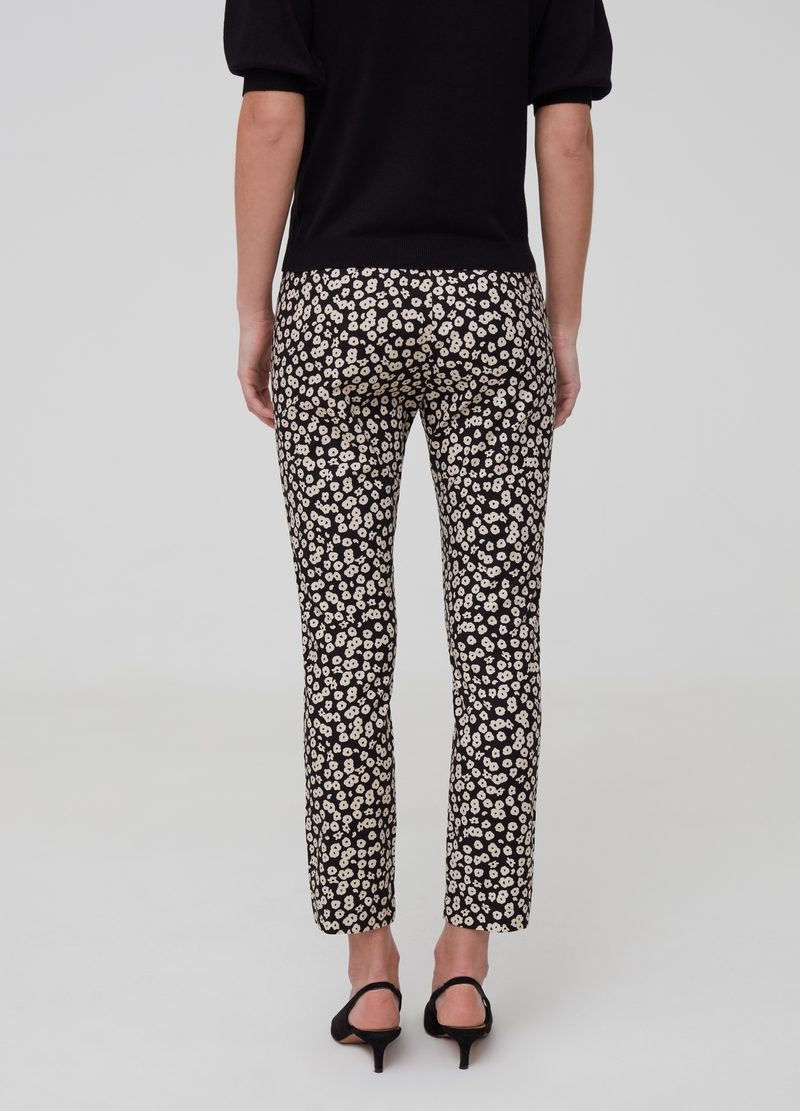 Stretch cotton cigarette trousers image number null