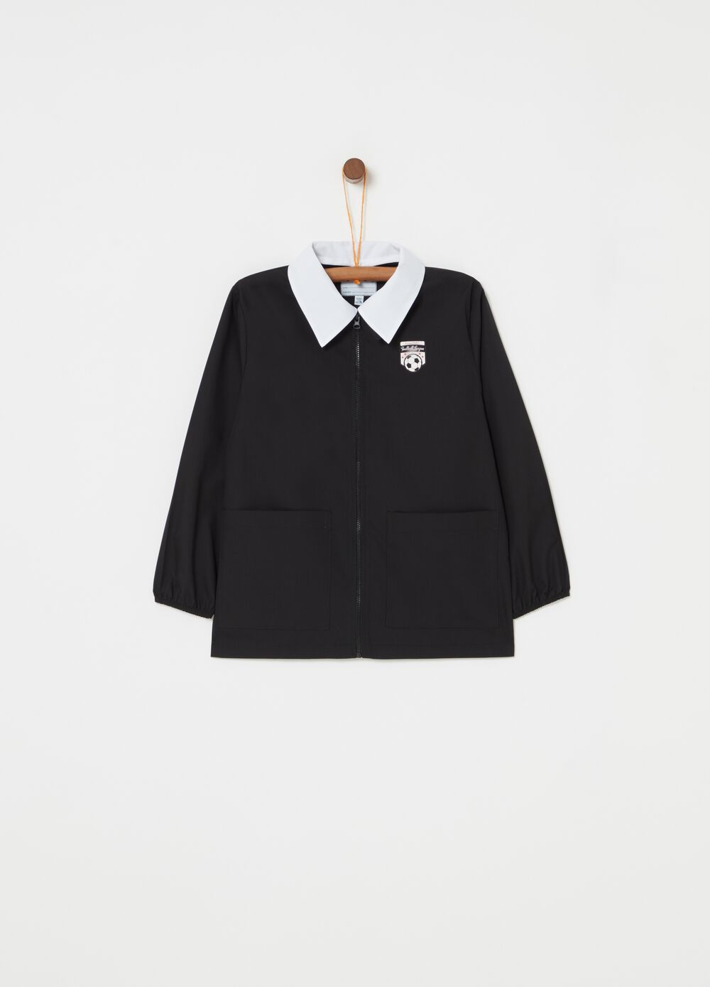Smock with zip fastening and football embroidery