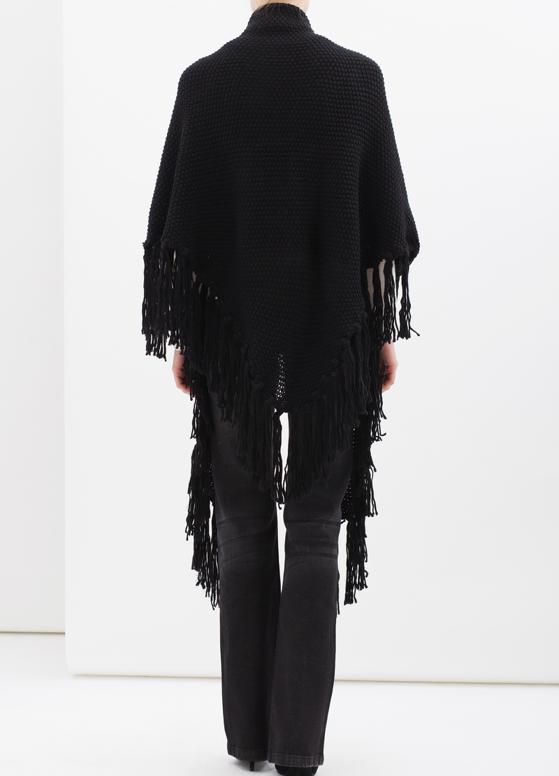Knitted shawl with fringe image number null