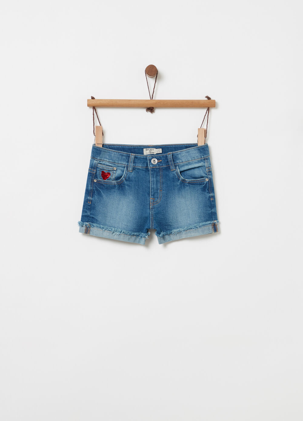 Denim shorts with fringing and sequins