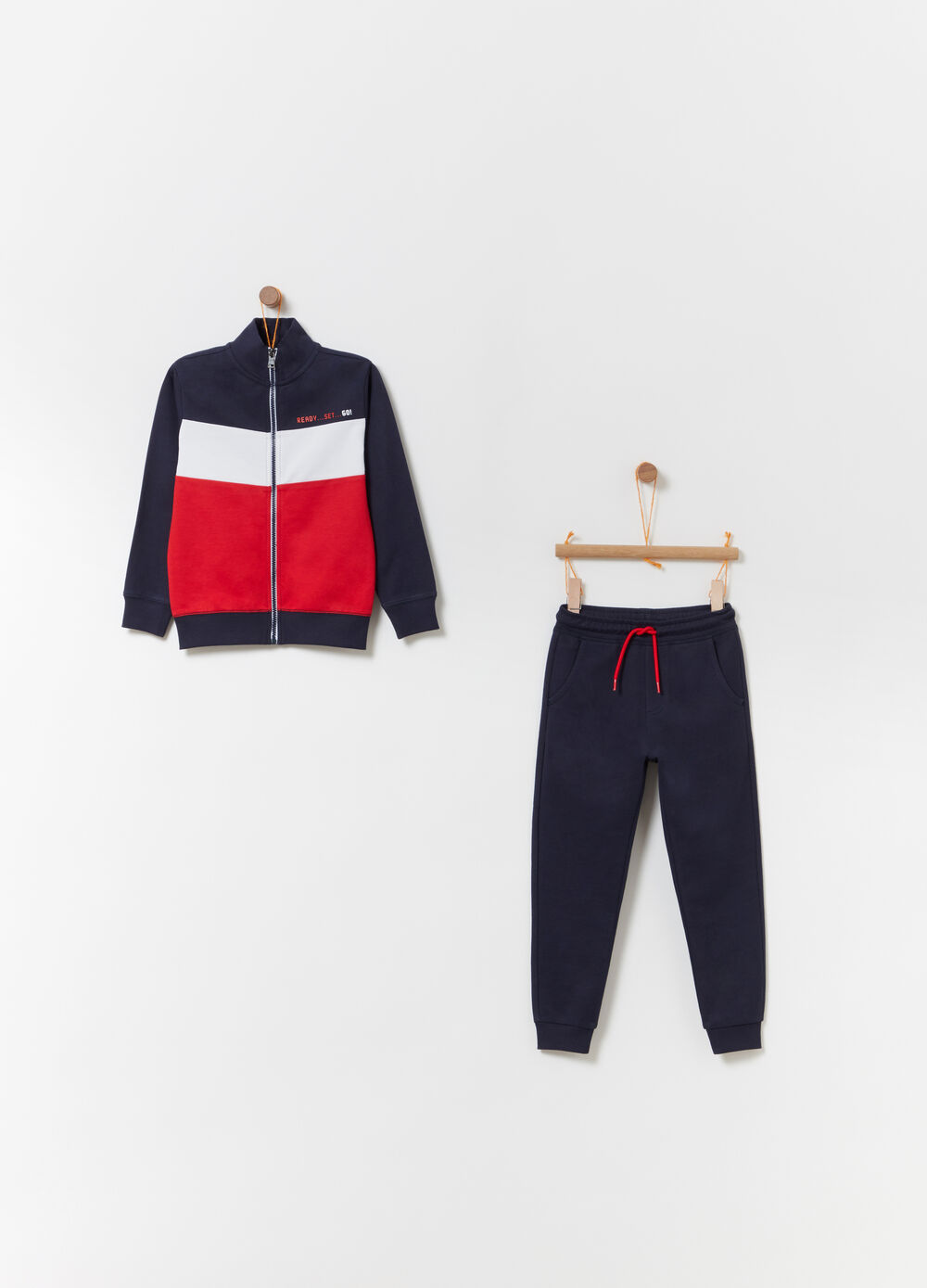 Jogging set with contrasting inserts
