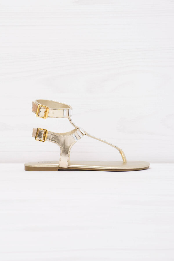 Thong sandals with diamantés. | OVS