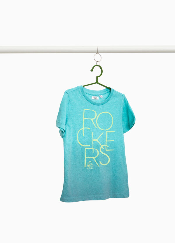 Degradé T-shirt with printed lettering
