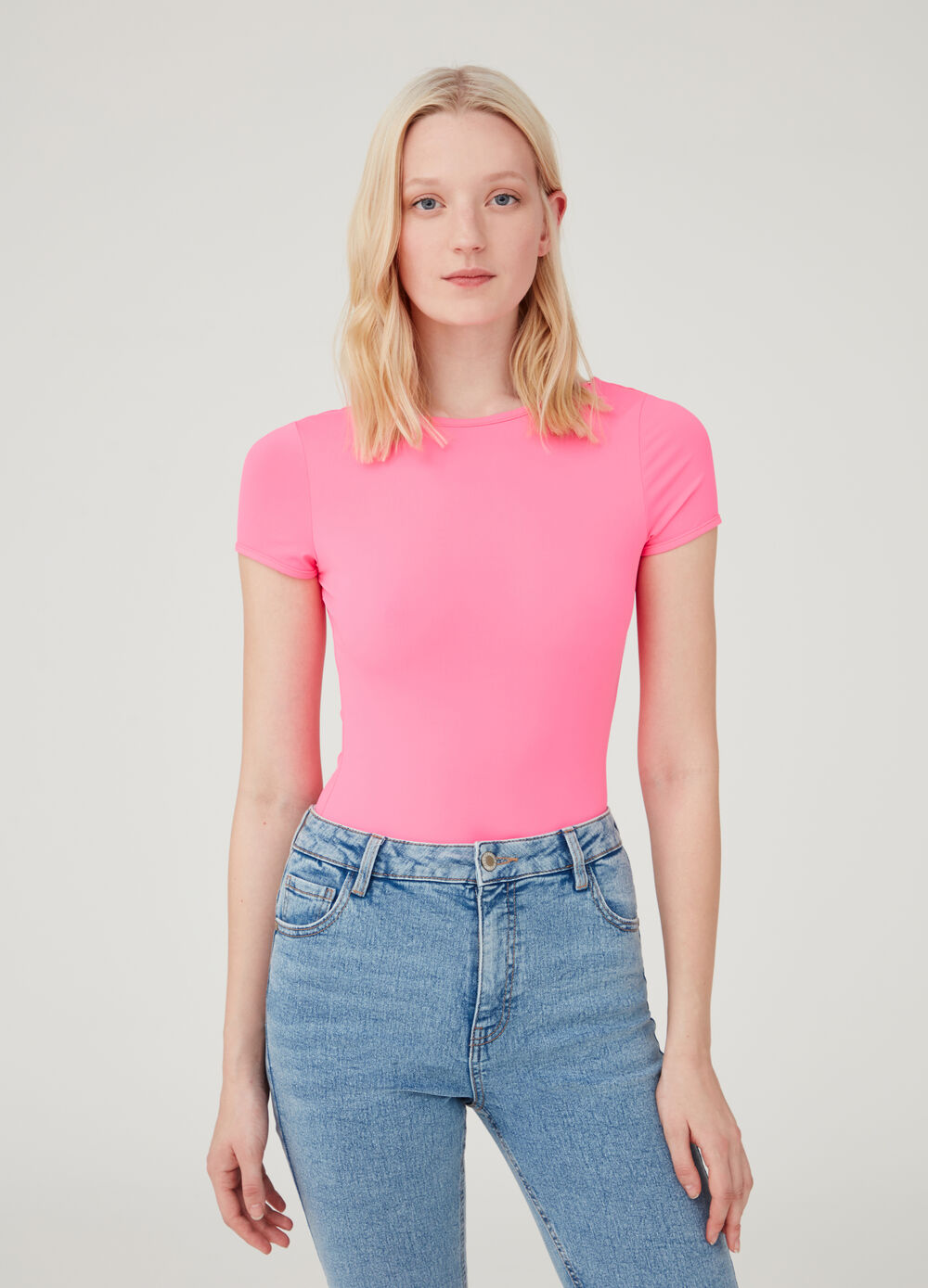 Stretch bodysuit with short sleeves
