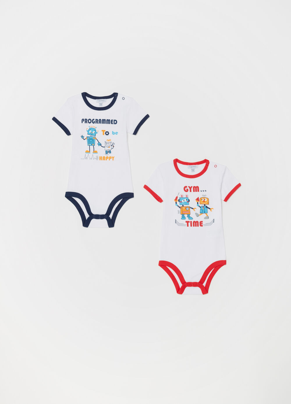 Two-pack cotton robot patterned bodysuits
