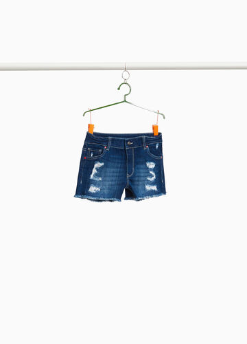 Stretch denim shorts with rips