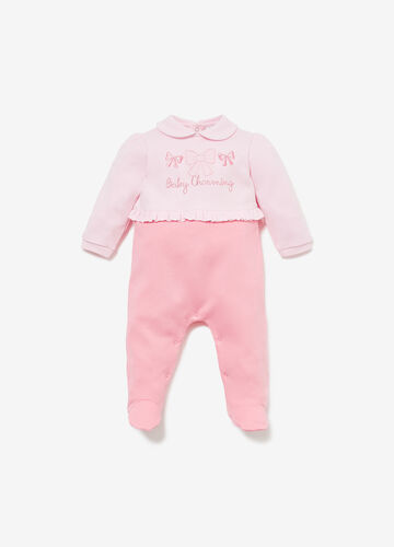 Cotton romper suit with embroidery and ruffles
