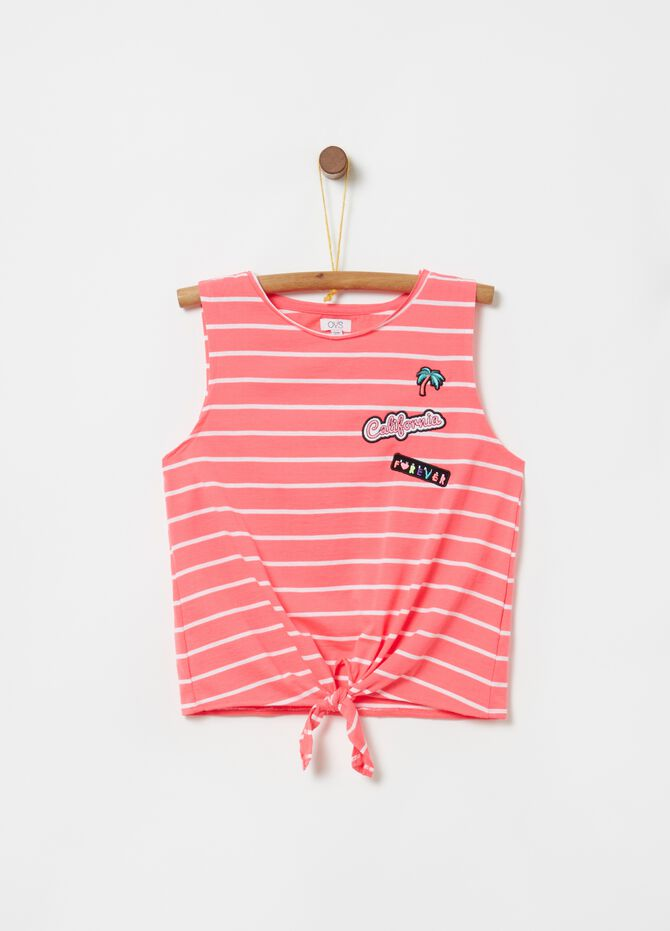 Tank top with applications, knot and stripes