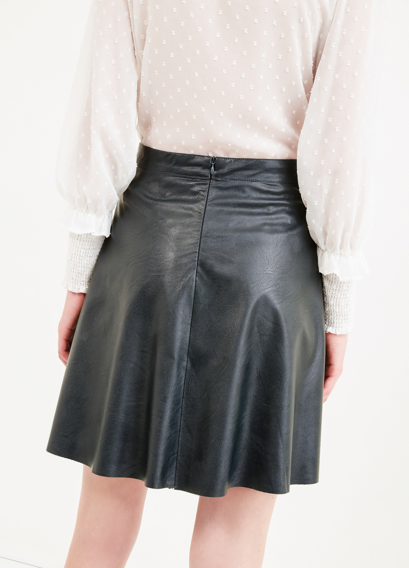 High-waisted leather-look skirt image number null