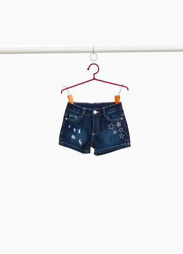 Worn-effect denim shorts with diamantés