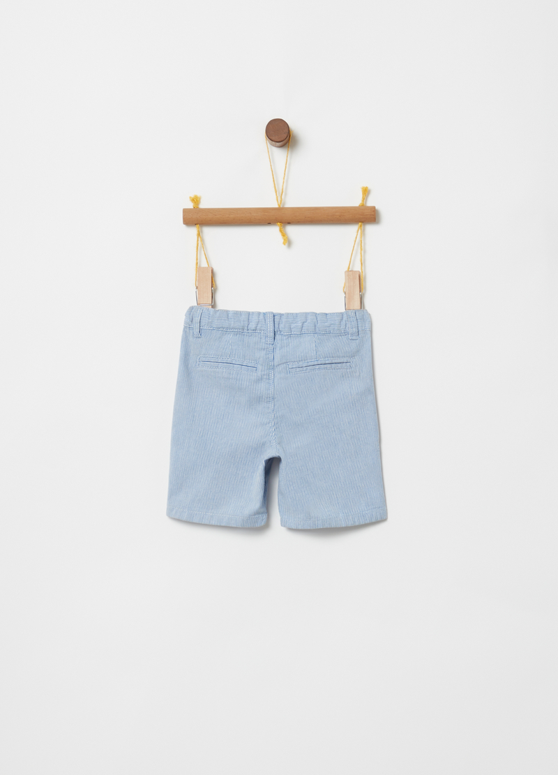 100% cotton Bermuda shorts with pockets and stripes image number null