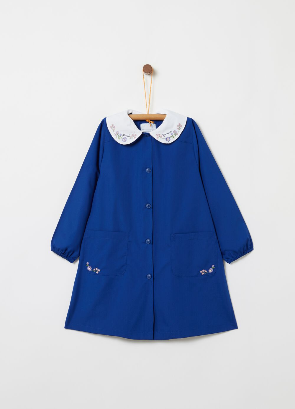 Smock with pockets and floral embroidery